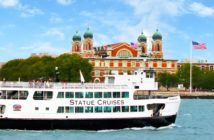 The Statue Cruises ferry Miss New Jersey arriving at Ellis Island. Statue Cruises photo.