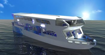 The Solarjet, a tri-mono hull design, took first place in the Worldwide Ferry Safety Association student design competition. Image courtesy WFSA.