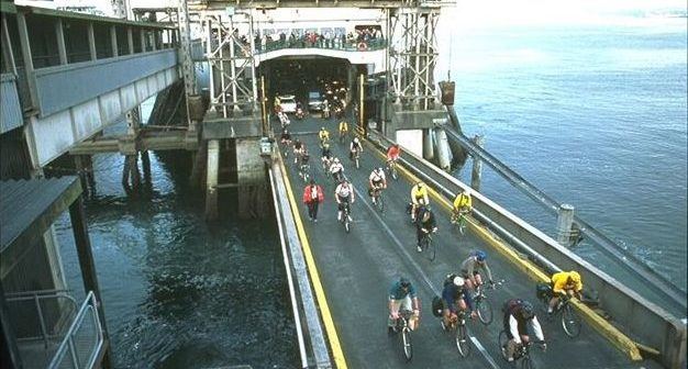 Cyclists at a Washington State Ferries terminal. Washington State Ferries photo.
