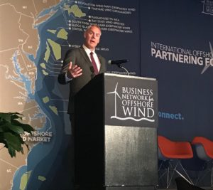 Interior Secretary Ryan Zinke speaking at the Business Partnership for Offshore Wind April 6, 2018. Department of Interior photo.
