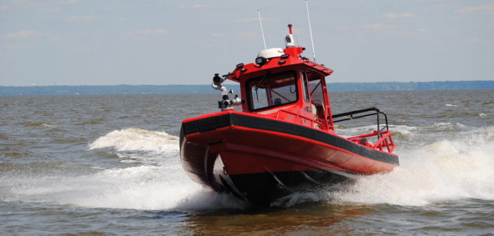 The new RIB is powered by a pair of Evinrude 250-hp outboards. Silver Ships photo