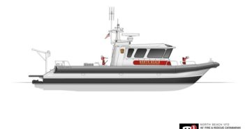 """Designed with a 24"""" draft, the M1-46 catamaran's large walk-around climate controlled cabin will be outfitted for patient treatment, search and rescue and incident command. Moose Boats rendering"""