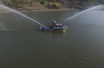 The new fireboat is operating in Poulsbo, Wash. North River Boats photo