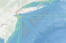 A chart showing potential wind energy energy areas in the New York Bight (grid blocks) overlaid with vessel tracks from AIS data. MARCO image.