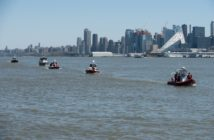 New Jersey fireboats on the Hudson River during a blessing of the fleet ceremony near Weehawken, N.J., on May 1, 2018. Coast Guard photo/PO3 Frank Iannazzo-Simmons.