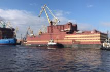 The floating nuclear reactor Akademik Lomonosov near St. Petersburg, Russia. Rosatom photo.