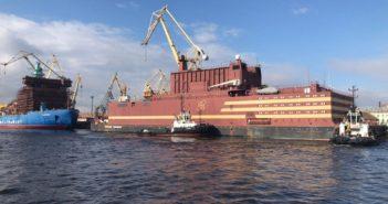 The floating nuclear reactor Akademik Lomonosov near St. Petersburg, Russia. Rosatom photo.