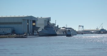 A littoral combat ship sits outside of Austal USA in Mobile, Ala. in 2017. Ken Hocke photo