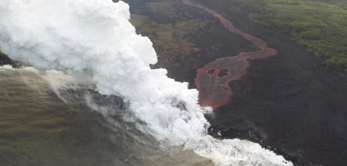 A lava flow from Hawaii's Kilauea volcano entering the sea May 21, 2018. U.S. Geological Survey photo.