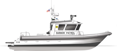 New catamaran is being built for the fire and police departments in Memphis, Tenn. Moose Boats rendering