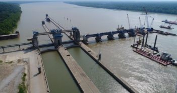 Olmsted Lock and Dam under construction on the Ohio River in July 2017. Corps of Engineers Louisville District photo.