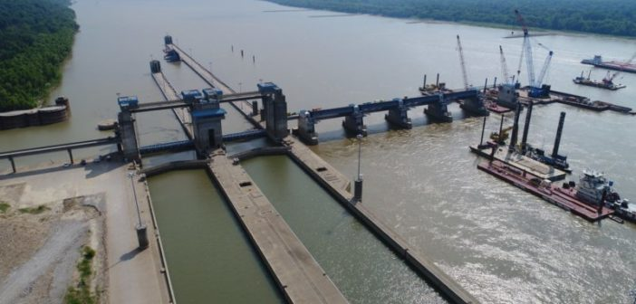 Olmsted Locks and Dam under construction on the Ohio River in July 2017. Corps of Engineers Louisville District photo.