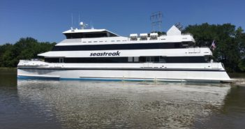 The Seastreak Commodore is the highest passenger capacity Subchapter K boat ever built in the U.S. Seastreak photo.