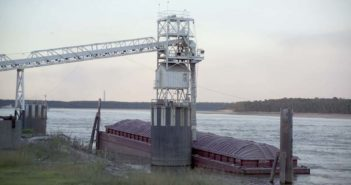A soybean barge at a grain elevator in the Midwest. United Soybean Board photo