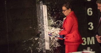 The ship's sponsor, Penny Pritzker — 38th U.S. Secretary of Commerce, christened the new ship. Austal USA photo