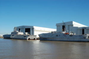 Littoral combat ship and expeditionary fast transport outside Austal USA in Mobile, Ala. Ken Hocke photo