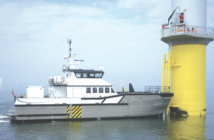 An 85' South Boat crew transfer vessel at work on a European wind farm. A new sub-licensing agreement will allow South Boat designs to be built for wind farms off Maryland. Photo courtesy Blount Boats.