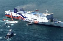 The ferry Caribbean Fantasy burns off Puerto Rico in August 2016. Coast Guard photo.