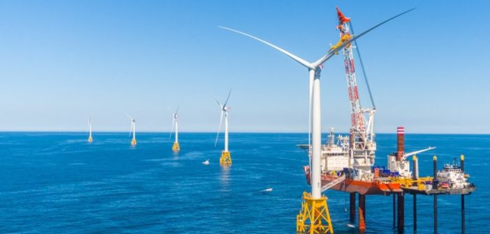 Jacket foundations and lift boats came from Louisiana to help build the Deepwater Wind Block Island Wind Farm in summer 2016. More supply and infrastructure capacity will be needed to scale up the industry. Deepwater Wind photo.