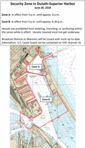 A graphic of the Duluth-Superior Harbor Security Zone which will be enforced by the U.S. Coast Guard in Duluth, Minnesota on Wednesday, June 20, 2018. Coast Guard image.
