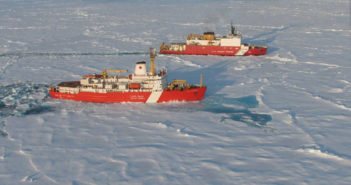 The Canadian icebreaker Louis S. St-Laurent and U.S. Coast Guard icebreaker Healy. USGS photo.icebreakers