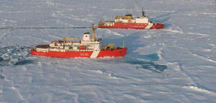 The Canadian icebreaker Louis S. St-Laurent and U.S. Coast Guard icebreaker Healy. USGS photo.icebreakers