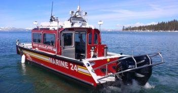 The fireboat Marine 24 serves as a mobile water supply for firefighters protecting Lake Tahoe homes. Lake Assault Boats photo.