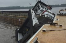 The towboat Todd Brown sank after colliding with a barge during high water on the Mississippi River April 17, 2017. Coast Guard photo.