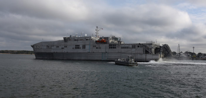 The Spearhead-class expeditionary fast transport ship USNS Trenton (T-EPF 5) rendered assistance to mariners in distress in the Mediterranean Sea, June 12, 2018. U.S. Navy photograph by Bill Mesta
