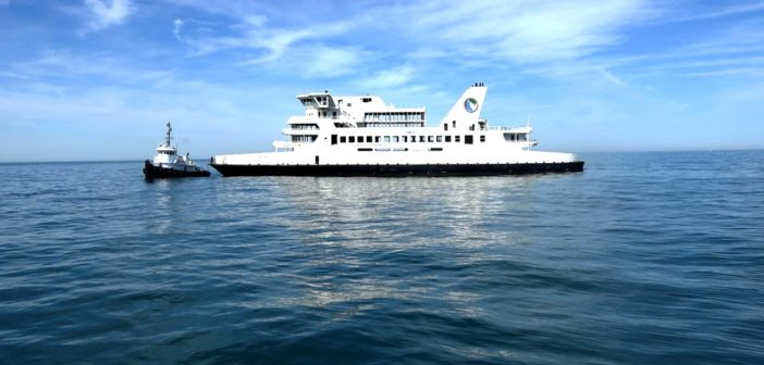 The former Delaware Bay ferry Twin Capes was towed by Colleen Marine to an artificial reef site June 15, 2017. DNREC photo.