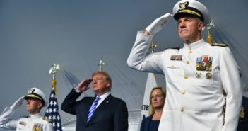 Adm. Paul Zukunft (left), President Donald Trump, Department of Homeland Security Secretary Kirstjen Nielsen and Adm. Karl Schultz render honors during a change of command ceremony at Coast Guard Headquarters in Washington, D.C., June 1, 2018. Coast Guard photo/PO1 Patrick Kelley.