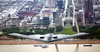 A B-2 Spirit bomber flies over St. Louis. U.S. Air Force photo.