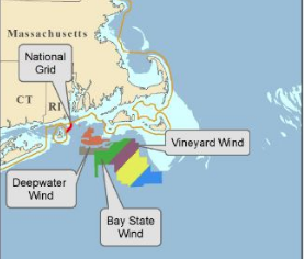 A BOEM map shows wind energy projects planned off southern New England. BOEM image