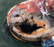 An explosion and fire off Port Aransas, Texas, Oct. 20, 2017 killed two crewmen left a massive hole in the forward deck of the barge B. No. 255. Coast Guard photo
