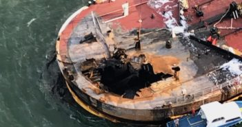 An explosion and fire off Port Aransas, Texas, Oct. 20, 2017, killed two crewmen left a massive hole in the forward deck of the barge B. No. 255. Coast Guard photo