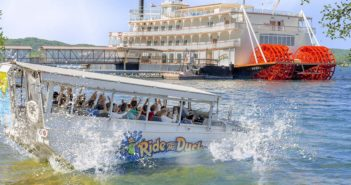 A duck boat enters Table Rock Lake near the Branson Belle. Branson/Lakes Area Convention and Visitors Bureau photo.