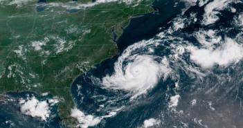 Tropical storm Chris off the Carolinas. NOAA-GOES satellite image