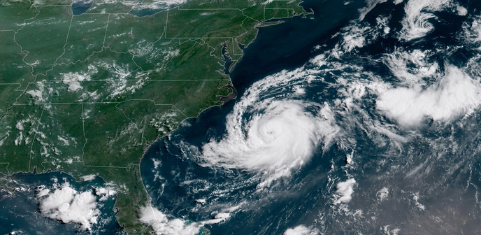 Tropical storm Chris off the Carolinas. NOAA-GOES satellite image