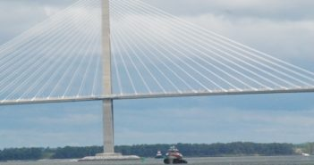 Tugs pass the Arthur Ravenel Jr. Bridge on the Cooper River at Charleston, S.C. Kirk Moore photo