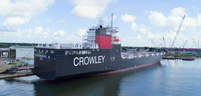 The first of two LNG ConRo ships for Crowley from VT Halter. Crowley Maritime photo