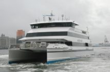 The Seastreak Commodore off Pier 11 in New York City. Kirk Moore photo.