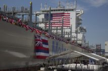 The Matson containership Daniel K. Inouye was christened June 30 in Philadelphia. Matson photo.