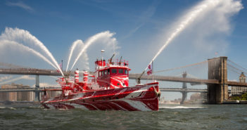 The historic FDNY fireboat John J. Harvey in its new dazzle paint scheme. Courtesy Paula Cooper Gallery/Nicholas Knight photo.