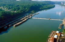 Locks and Dam 3 on the Monongahela River near Elizabeth, Pa., is one of the oldest on the inland system, dating to 1907. Corps of Engineers photo.