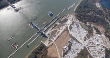 The Olmsted Lock and Dam under construction, shown here in 2016. Corps of Engineers photo.