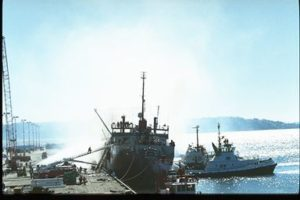 A 1991 fire on the fish processing vessel Omnisea was one factor in shaping Seattle's strict marine fire prevention policy. NOAA photo
