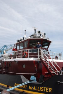 The Rosemary McAllister at the Port of Virginia with Capt. Larry Sullivan. Kirk Moore photo