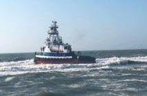 The tugboat Sea Cypress aground at Lavallette, N.J., July 24, 2018. Lavallette Beach Patrol photo.