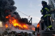 The Seattle Fire Department battled a barge fire involving crushed cars June 26. SFD photo