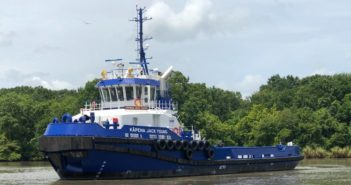 The first of four new oceangoing tugs that will soon begin neighbor island service for Young Brothers. Foss Maritime photo